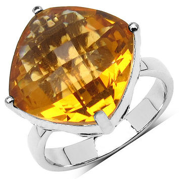9.05 Carat Genuine Citrine .925 Sterling Silver Ring