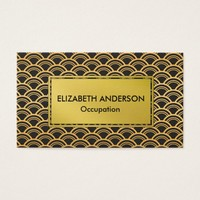 Glam Faux Gold and Black Scallops Business Card