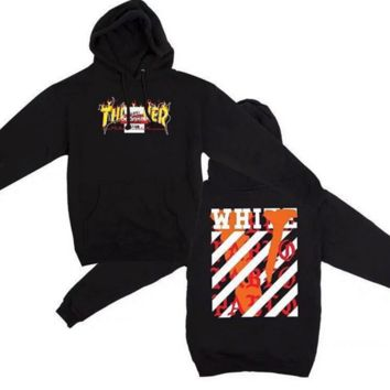 Thrasher Vlone Off White Unisex Long Sleeve Hoodies Sweater