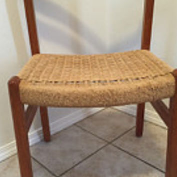 Vintage Danish Modern Teak chair with woven rope seat  Mid Century Wegner Eames
