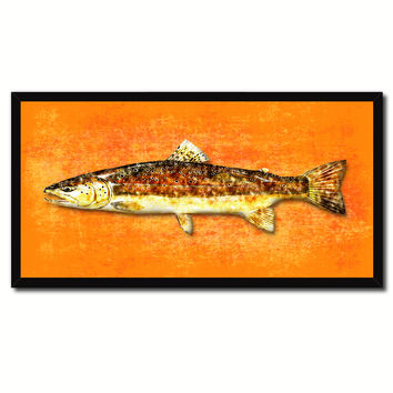 Brown Trout Fish Art Orange Canvas Print Picture Frames Home Decor Nautical Fisherman Gifts