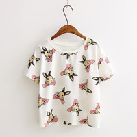 Short Sleeve Rabbits Star Print T-Shirt