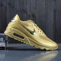 Nike Air Max 90 Men Sneakers Running Sports Shoes Gold I-A0-YFY