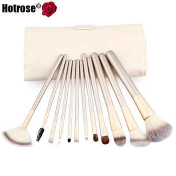 Hotrose 12 pcs Makeup Brushes Professional Synthetic Cosmetic Makeup Brush Foundation Eyeshadow Eyeliner Brushing Brush Kits
