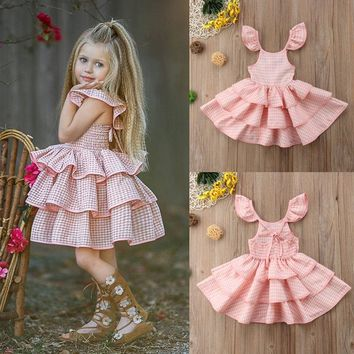 Toddler Kids Baby Girls Ruffled Tutu Sundress Backless Pink Party Pageant Dress