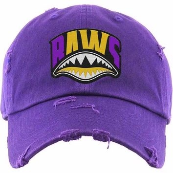 3866eaf0479ff1 LA Shark Mouth Baws Purple Dad Hat - Jordan Retro 13 Los Angeles Lakers