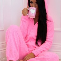 Bubbaloo Pink Fleece Hooded Ear Onesuit | Pink Boutique
