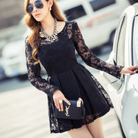 Lace Long Sleeve Sheath A-Line Mini Skater Dress