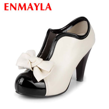 ENMAYLA Beige Women Spring/Autumn Fashion Boots Cute Bowtie Round Toe Slip-on High Heel Boots for Party and Wedding Size 34-43