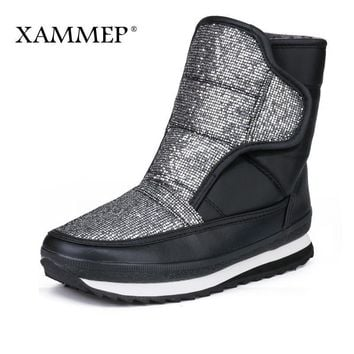 Women Water Proof  Calf Length Warm Snow Boots With Wool Lining