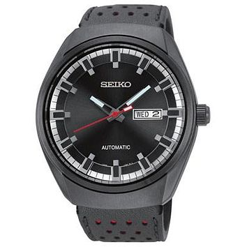 Seiko Mens Automatic Recraft Series - Black IP Case - Black Dial - Leather Strap