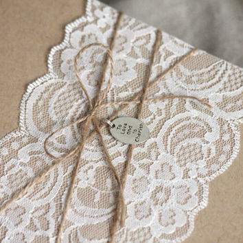 Wedding Invitation, Rustic lace, rustic invitation, to have and to hold, kraft invitation, country invitation, barn wedding, unique invite
