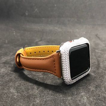 Apple Watch Band 38mm/40mm 42mm/44mm Tan Smooth Leather Slim Skinny  Womens Mens Series 1 2 3 4/Iced Out Bezel Case Cover Lab Diamonds Bling