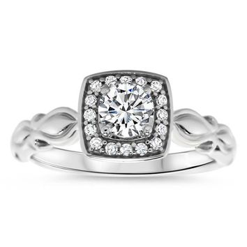 Diamond Halo Solitaire Moissanite Engagement Ring - Isa