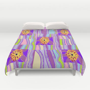 Psychedelic Flowers #1 Duvet Cover by Jenartanddesign | Society6