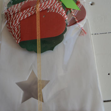Off white paper bag with a small star window set of 20 complete bags, bonus bundle red/white baker's twine and 8 labels --- Christmas favors