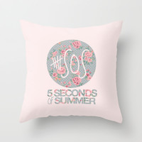 5SOS Pink Floral Throw Pillow by Valerie Hoffmann