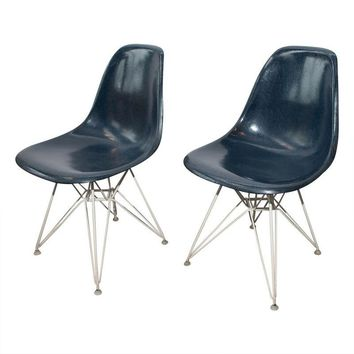 Pre-owned Blue Herman Miller Eames Fiberglass Shell Chairs