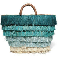 Kayu - Pinata leather-trimmed fringed straw tote