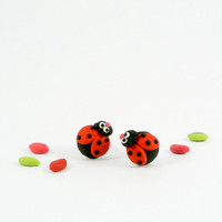 Ladybug post earrings - Fun teenager jewelry hand sculpted - Insect bugs - Animal gift for women