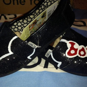 Dreams Come True (Red Bow Silhouette) Custom TOMS Shoes