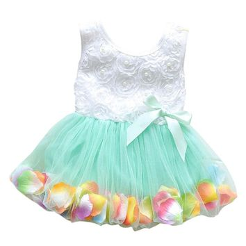 New Kid Girls Princess Hot Sales Toddler Baby Party Tutu Lace Bow Flower Dresses Clothes