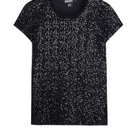 Black Short Sleeve Sequin T-Shirt by DKNY