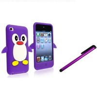 Generic Penguin Silicone Case Cover Protector and Nc Capacitive Stylus Pen for Apple Ipod 4 Touch, Purple