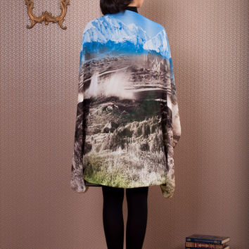 Mountain Long Bolero, colorful chiffon long shrug, landscape sheer shawl with sleeves