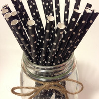 25 Black Polka Dot paper straws // baby bridal shower decorations / candy dessert buffet table // wedding // First birthday/new year party