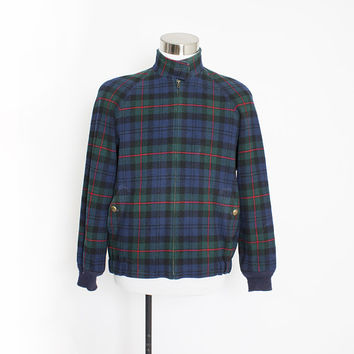Vintage PENDLETON Jacket - MEN'S Blue Plaid Wool 1990s - Medium