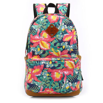 Women's Canvas Floral Backpack School Bookbag Travel Bag + Free Gift World Map Watch
