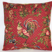 """Waverly Red Rooster Pillow In Saison de Printemps Rouge Chicken Toile, Reversible Gingham Check, 18"""" Square, Cover Only or Insert  Included"""