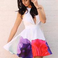 Keyhole Detail Skater Dress with Floral Monet Watercolour Border Print in White, Pink, Purple & Mint