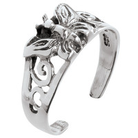 Butterfly With Swirl Sterling Silver Toe Ring