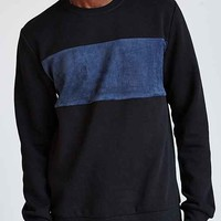Suede- Panel Crew-Neck Sweatshirt-