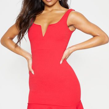 Red V Bar Frill Hem Bodycon Dress