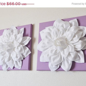 """MOTHERS DAY SALE Two Wall Flowers -White Dahlia on Lilac 12 x12"""" Canvas Wall Art- Baby Nursery Wall Decor-"""