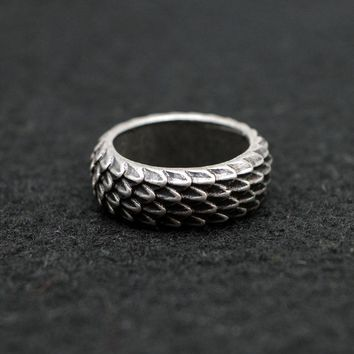1pcs Viking Dragon Rings Jewelry Feather Ring Unique Dragonscale Rings For Women Men Size 8 Antique Silver RG96
