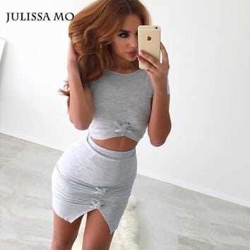 Bodycon Dress 2016 Two Piece Set Women Front Knot Cutout Summer Dress Sexy Party Night Club Bandage Dress Robe Vestidos