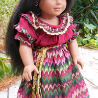 3 piece skirt, belt, and ruffled camisa for Josefina (18 inch doll) OOAK for AMERICAN GIRL