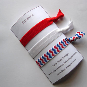 Red pony tail holders, elastic hair ties, workout gear, red white and blue chevron, great for pig tails, up do's buns and french braids