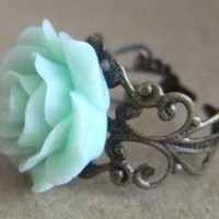 Retro Mint Flower Ring