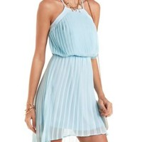 High-Low Pleated Chiffon Dress by Charlotte Russe
