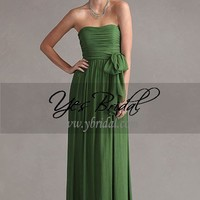 Empire Strapless Floor-Length Crepe Chiffon Winterfest Prom Dress SEM0168