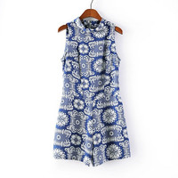 Summer Vintage Print Sleeveless Shorts Casual Pants Jumpsuit [4918010820]