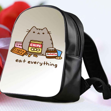 Pusheen The Cat Eat Everything for Backpack / Custom Bag / School Bag / Children Bag / Custom School Bag **
