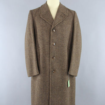 Vintage 1970s Wool Coat / 70s Men's Coat / Herringbone Tweed / London Fog / Overcoat / Trench Coat / Size 40 Reg