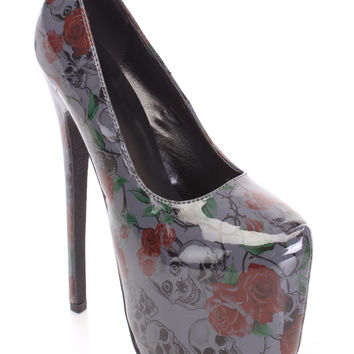 Black Printed Pump High Heels Patent Faux Leather