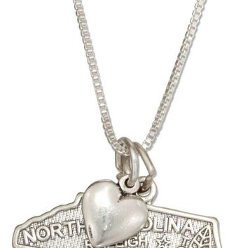 """Sterling Silver 18"""" North Carolina State Pendant Necklace With Heart Charm"""